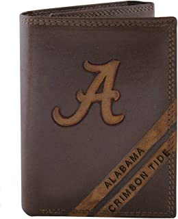 NCAA Alabama Crimson Tide Zep-Pro Pull-Up Leather Trifold Embossed Wallet, Brown