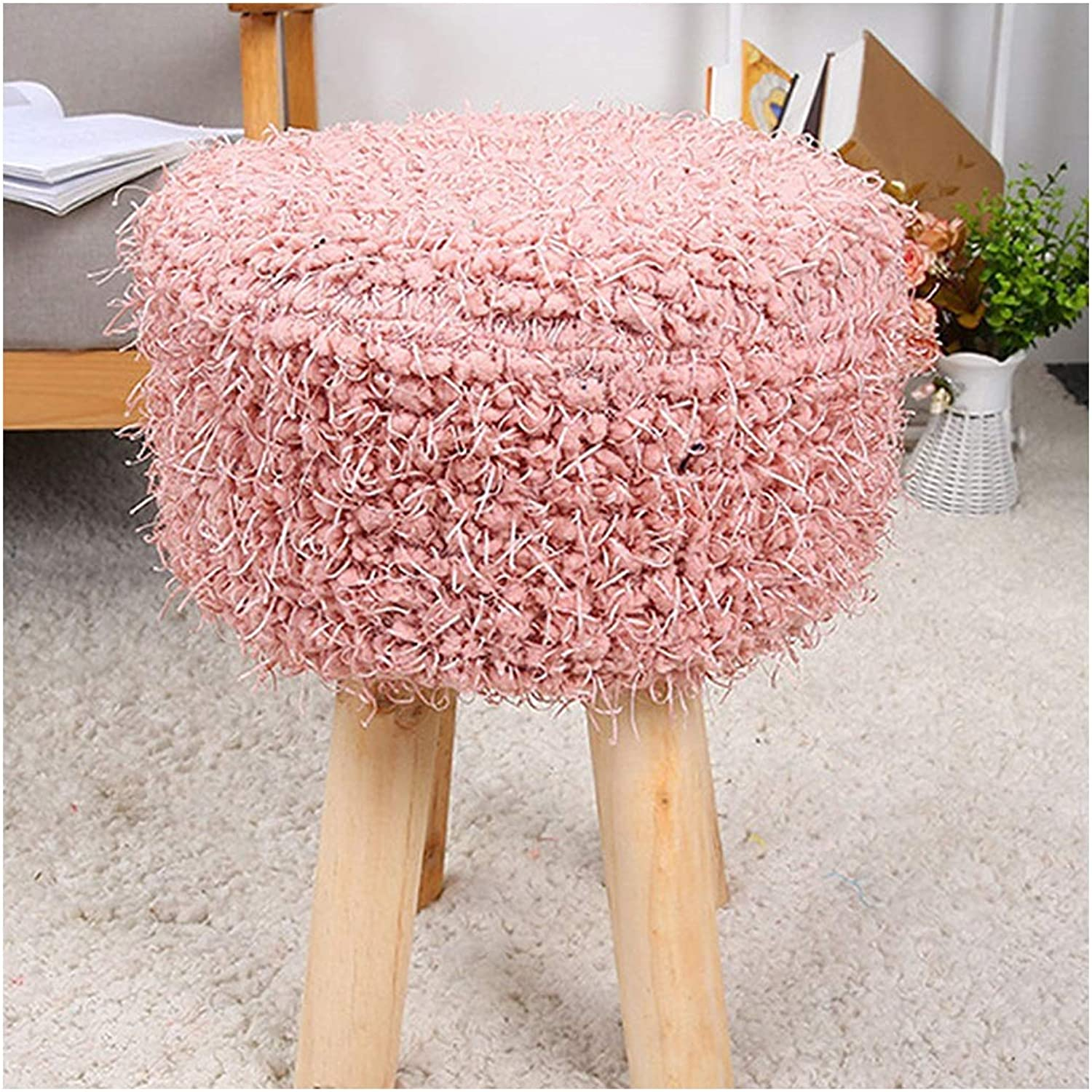 Four-Foot Stool Hair Change shoes Stool Low Stool Home Round Stool Plush Stool Simple Solid Wood 30  30  45CM (color   2, Size   30  30  45CM)