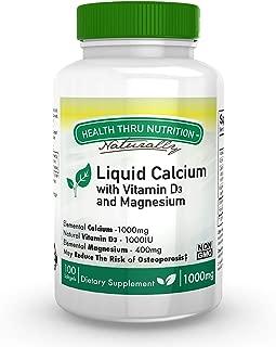 Calcio y magnesio líquidos con 1000 UI de D3, vitamina K, sin OGM, sin soya (100 cápsulas blandas) (100)