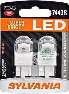 SYLVANIA 7443RLED.BP2 ZEVO 7443 T20 Red LED Bulb, (Contains 2 Bulbs)