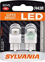 SYLVANIA - 7443 T20 ZEVO LED Red Bulb - Bright LED Bulb, Ideal for Stop and Tail Lights (Contains 2 Bulbs)
