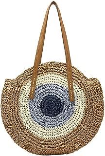 Round Handbag Summer Beach Bag Rattan Woven Handmade Knitted Straw Large Capacity Totes