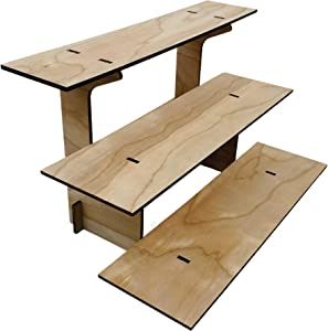 Torched 3-Tier Straight Retail Table Display Stand with Shelves for Products - Portable | 3 Step Straight Display Rack for Retail Table Top, Counter Top, Craft Shows, Farmers Market, Tradeshows