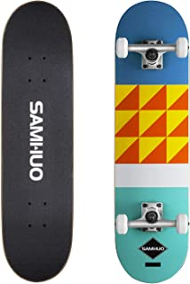 "SAMHUO Skateboards 31''X 8"" Pro Complete Skateboard 7 Layer Canadian Maple Skateboard Deck for Extreme Sports and Outdoors"