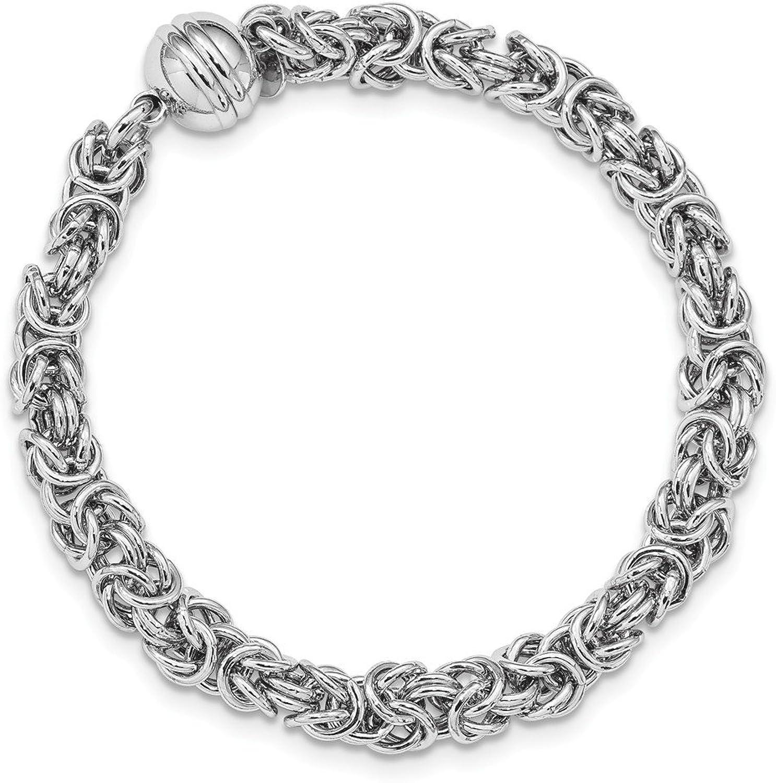 925 Sterling Silver Polished Fancy Link Magnetic Clasp Bracelet