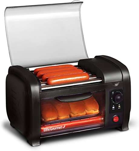 Elite Cuisine EHD-051B Hot Dog Toaster Oven, 30-Min Timer, Stainless Steel Heat Rollers Bake & Crumb Tray, World Seri...