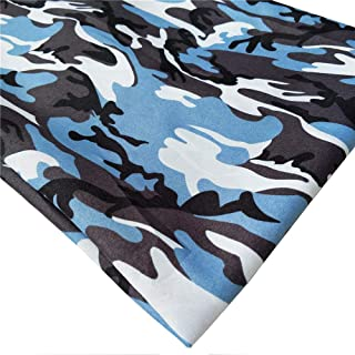 ZAIONE Camouflage Militär Armee bedruckter Stoff von The Yard Breite 147,2 cm 91 x 147,2 cm Drucke Camo Stoff Nähen Patchwork DIY Handwerk 58 Inches hellblau
