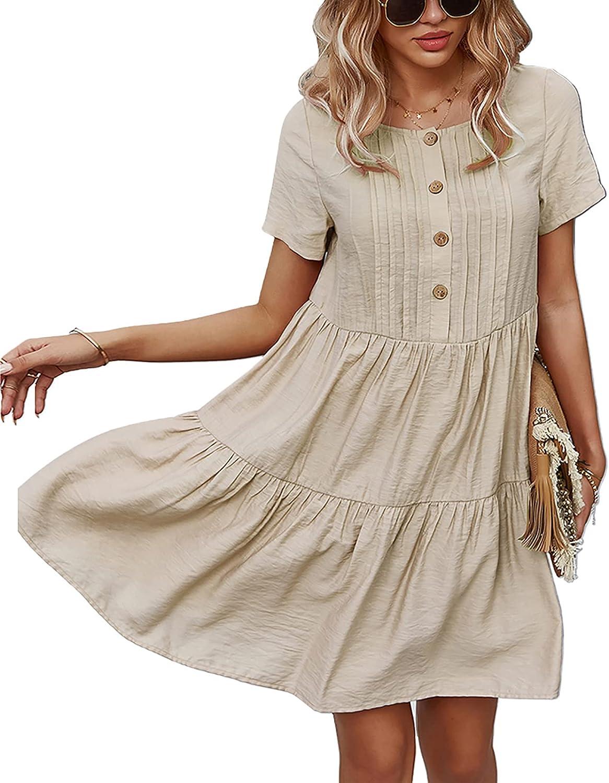 kekafu Women Summer Mini Dress Button Down Short Sleeve Ruffle Dress Casual Loose Swing Babydoll Dress