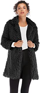 SZIVYSHI Winter Thick Warm Long Sleeve Large Collar Faux Fur Plush Loose Fit Longline Jacket Overcoat Coat Top
