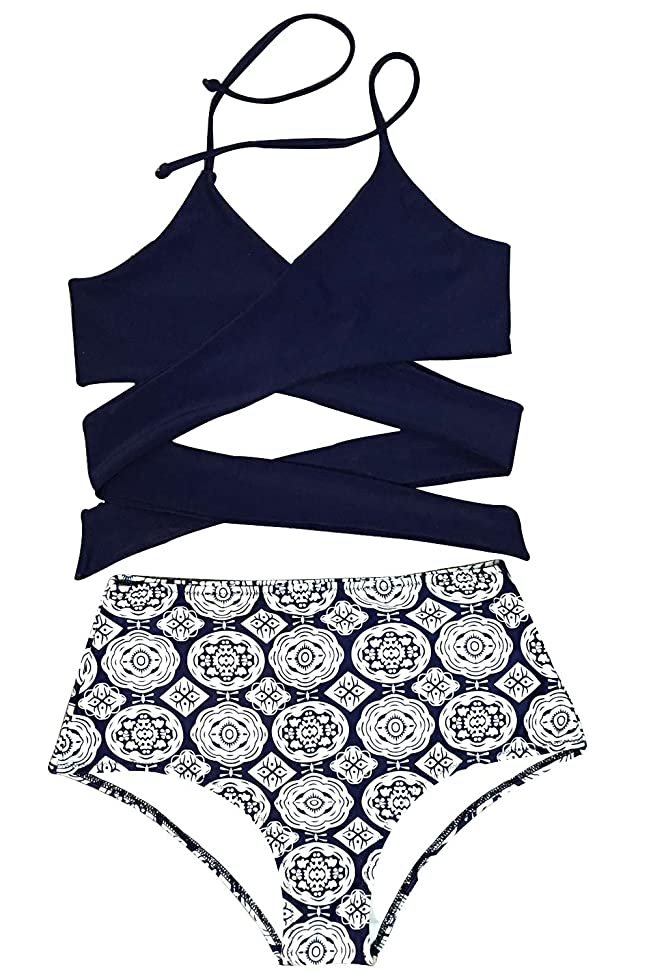 CUPSHE Women's Front Cross High-Waisted Halter Bikini Set