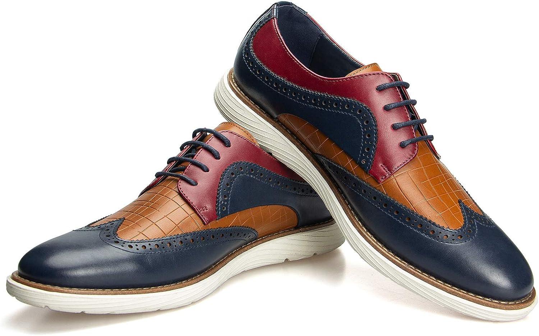 JITAI Men's Oxford Shoes,Dress Shoes Lace-up Wingtip Brogue Shoe Mens Lightweight Fashion Shoes.