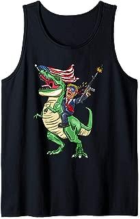 Machine Gun Trump On T Rex Dinosaur With American Flag Tank Top