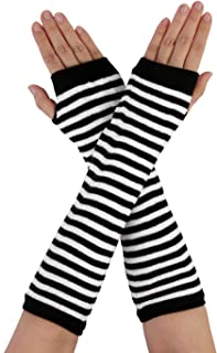 Allegra K Women Stripe Print Knitted Fingerless Thumb Hole Elbow Length Gloves Warmers Pair
