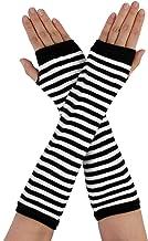 Allegra K Women's Stripe Print Knitted Fingerless Thumb Hole Elbow Length Gloves Warmers 1 Pair