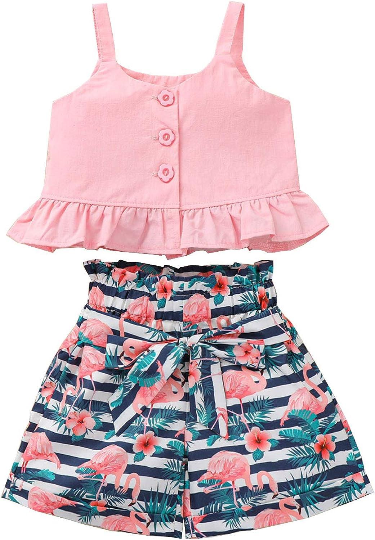 Toddler Girl 2Pcs Clothes Solid Color Strap Tank Top + Flamingo