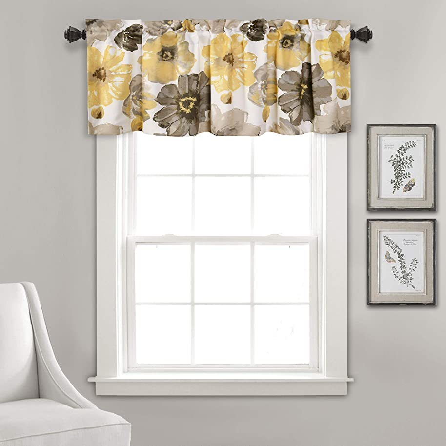 "Lush Decor Leah Floral Window Curtain Valance, 18"" x 52"", Yellow and Gray btgiavqv6695"