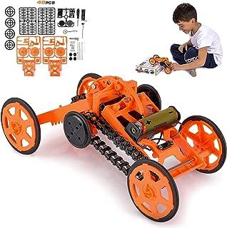 مهندسی اسباب بازی اسباب بازی مونتاژ ماشین اسباب بازی برای پسران کودکان و بزرگسالان - کیت اتومبیل ساختمانی مکانیکی برقی 4WD ، ماشین واقعی صعود با موتور واقعی برای آزمایش های علمی و پروژه های ساخت مدار