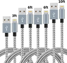 4Pack (3ft,6ft,6ft,10ft) Nylon Braided Charging Cord Charger Compatible with PhoneX/8/8Plus 7/7 Plus/6s/6s Plus/6/6 Plus/5s/55se,Pad,Pod and More (Gray&White)