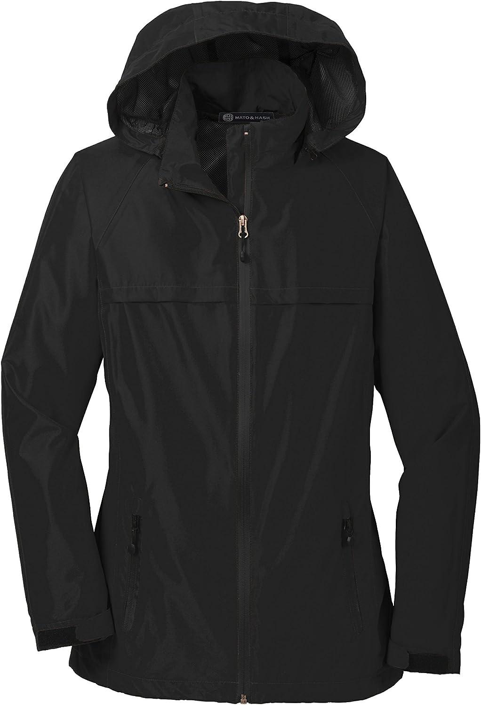 Mato & Hash Womens Solid Color Waterproof Jacket - MH - Black MHL333SA XS