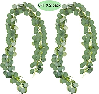 UNIQOOO 6 Feet Eucalyptus Garland, Artificial Greenery Wedding Vines | Faux Flower Wreath | Wedding Backdrop, Greenery Table Runner, Arch Decoration Photo Booth Decor, Pack of 2