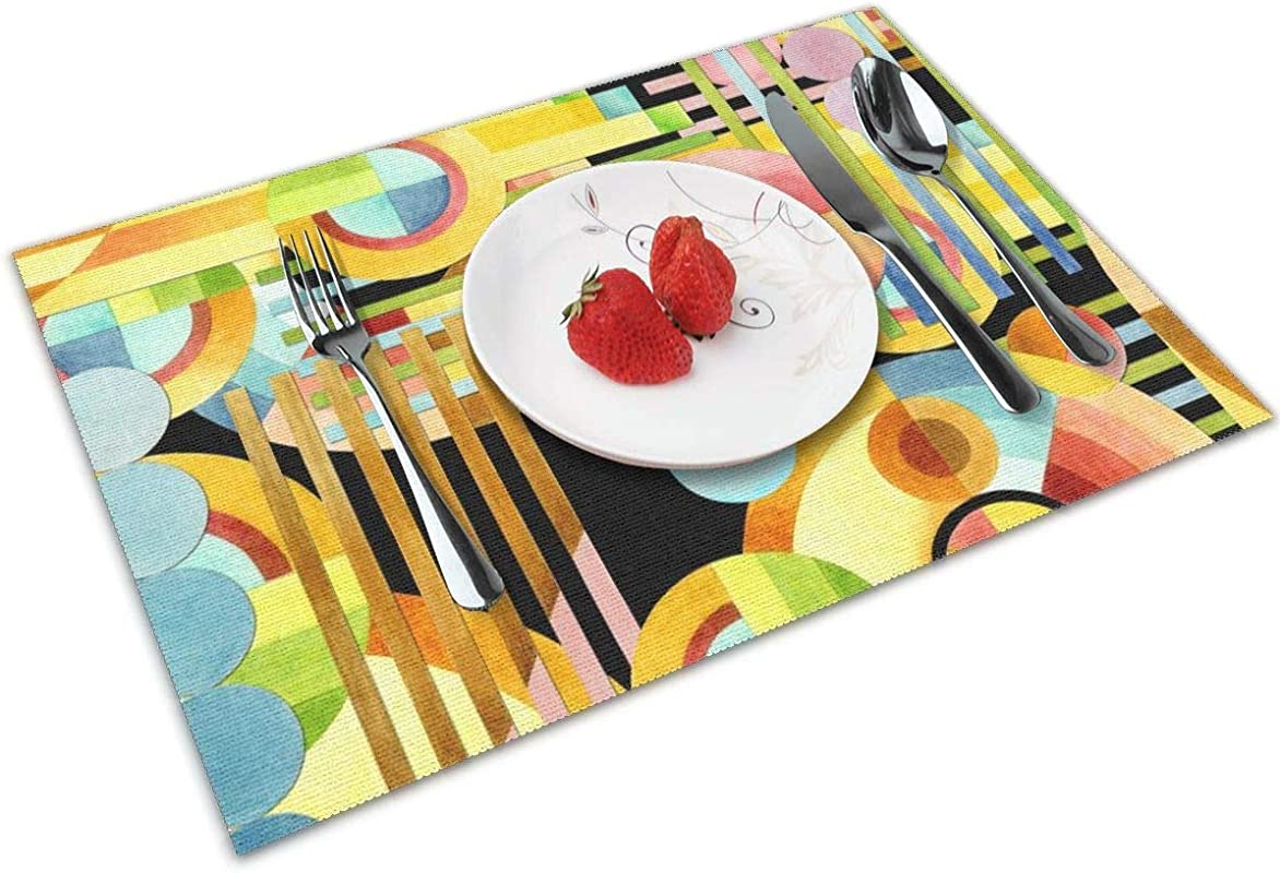 Luase Art Deco Maximalist Table Placemats For Dining Table Washable Placemat Heat Resistant Set Of 6 12X18 Inch