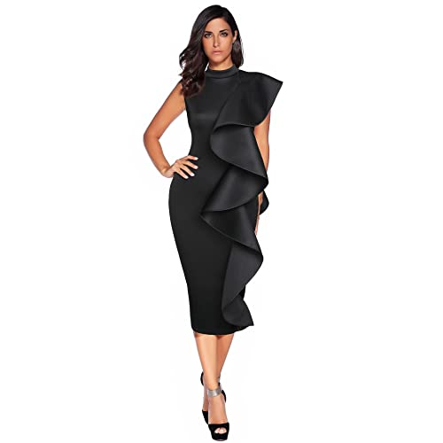 Meilun Womens Sleeveless Patchwork Ruffles Bodycon Vestidos Party Dresses  Clubwear 543d2e91a3cd