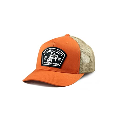 f94bc985476bd Dead Drift Fly Fishing Hat Bucking Trout Orange Trucker Snapback Fly