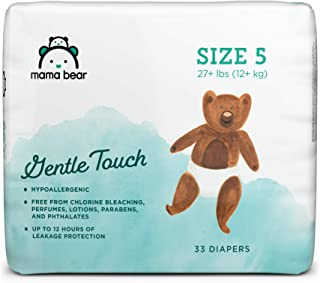 Amazon Brand - Mama Bear Gentle Touch Diapers, Hypoallergenic, Size 5, 33 Count