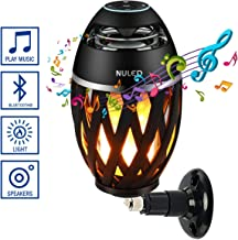 Portable Audio Wall Mount Kit IP65 Waterproof NULED Flame Speaker w. Warm Yellow LED Flickers Romantic Atmosphere for Indoor/Outdoor Portable Torch Table Lamp HD Bluetooth Stereo Sound (One Pack)