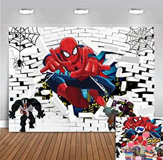 White Brick Wall Spiderman Photo Background 7x5ft Polyester Superhero Cityscape Spider Web for Children Baby Boys Birthday Party Banner Decorations Baby Shower Supplies