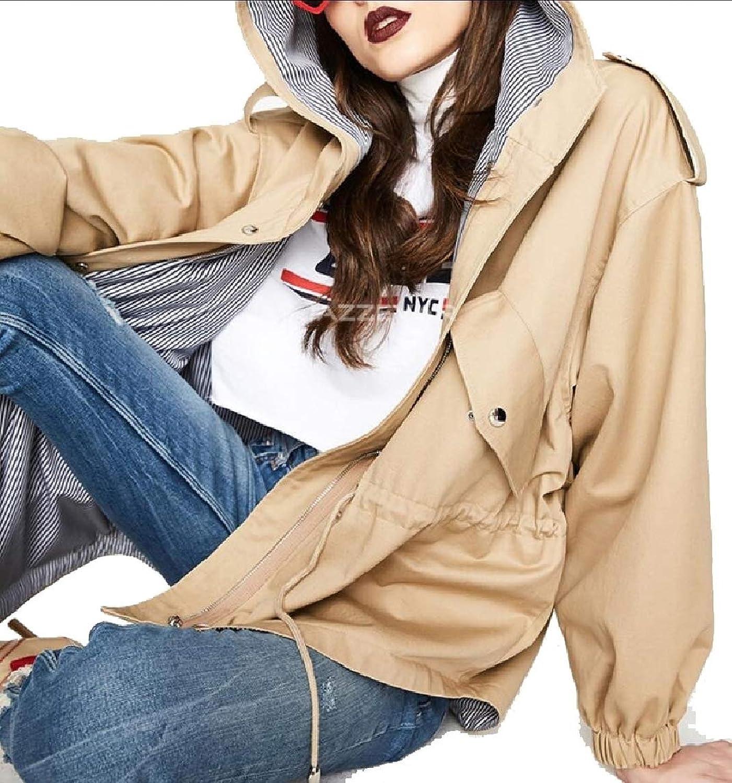 Gocgt Womens Lightweight Hooded Drawstring Trench Coat Outdoor Jacket