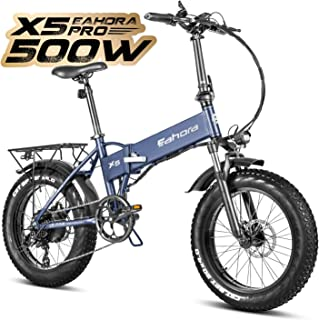 Eahora X5 Pro 4.0 Fat Tires 20 Inch 500W Folding Electric Bike Snow Beach Electric Bicycle 48V 10.4Ah Removable Battery Eb...