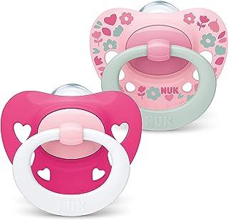 NUK Signature Schnuller | 18-36 Monate | BPA-freier Schnuller aus Silikon | rosa Herzen | 2 Stück
