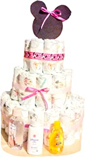 Pink and White 3 Tiered Minnie Mouse Diaper Cake