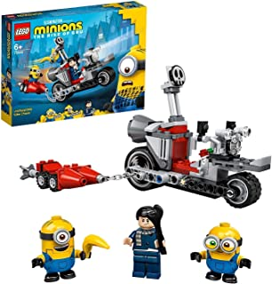 LEGO 75549 Minions Motorachtervolging met Gru, Bob en Stuart Minions Minifiguren, Speelgoed voor Kinderen vanaf 6 Jaar
