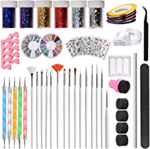 Makartt 108 PCS Nail Art Tools Set, Painting Brushes, 3D Nail Sticker Decals, Dotting Pen, Nail Gems, Nail Art Sponges, Nail Transfer Stickers, Nail Striping Tapes, Tweezers, Nail File, S-07