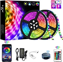 YOMYM LED Strip, LED Lights with Kit, Light Strip Controlled by Smart Phone, Wireless, WiFi 5050, Works with Android and iOS System, Alexa, Google Assistant, 32.8ft / 10M (2x5M)