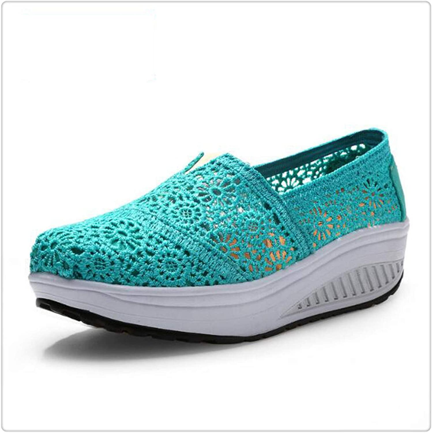 HANGGE& Women Casual shoes 2017 Spring Summer Breathable lace Canvas shoes Women Platform Slip-on Solid Wedges shoes Lake bluee 6.5