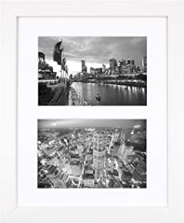 Golden State Art, 8x10 White Photo Wood Collage Frame with Real Glass and White Mat displays (2) 4x6 Pictures