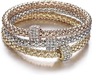 أساور قابلة للتمدد من بوربي جوو، 3 قطع، سلسلة ذهبية فضية/وردية، مع ساحرة سوار متعدد الطبقات للنساء