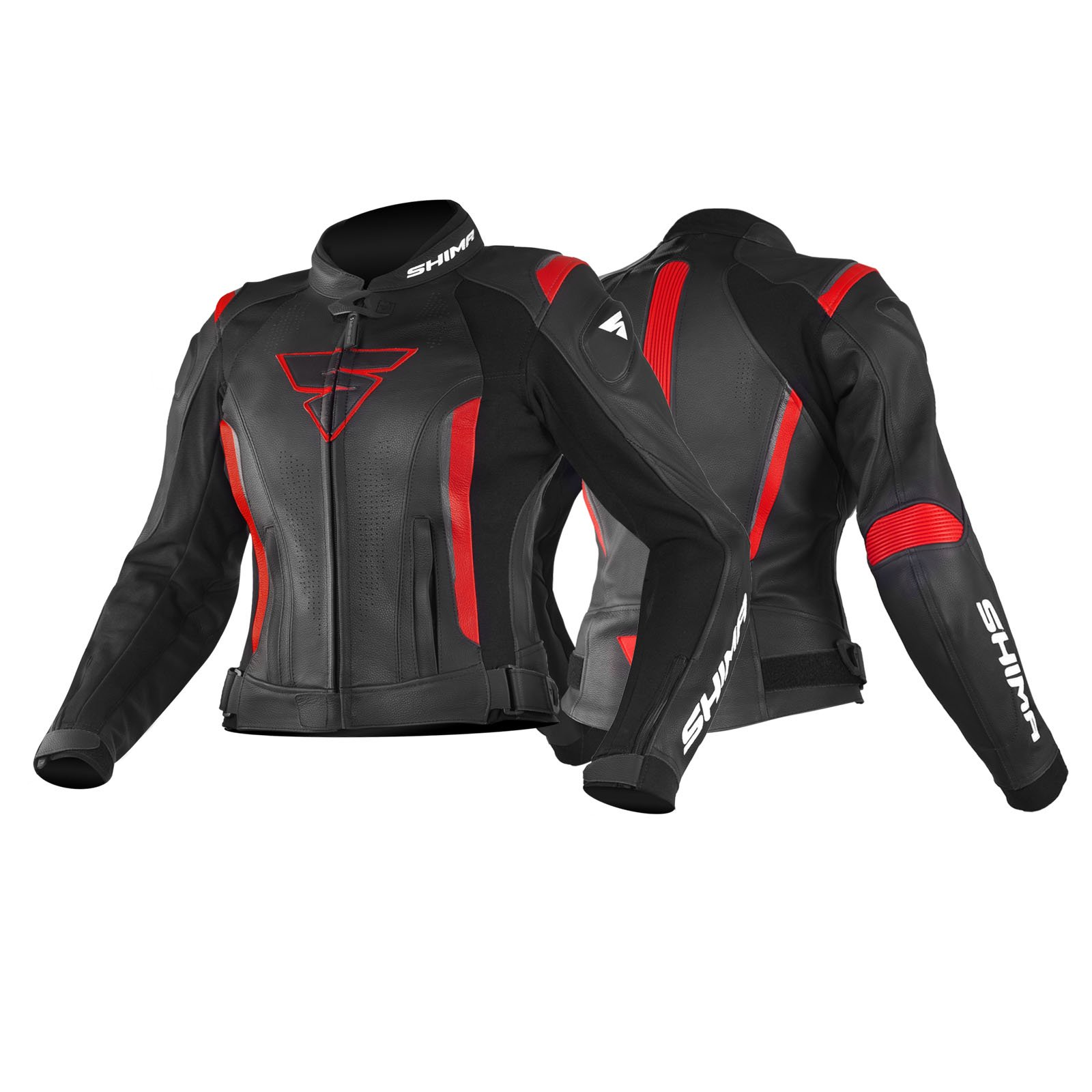 Size 32 Sports Leather Motorcycle Womens Jacket with Protectors SHIMA MIURA JACKET BLACK//RED 32-42, Black//Red