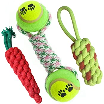 Pet Needs Combo of 3 Durable Pet Teeth Cleaning Chewing Biting Knotted Small Puppy Toys -100% Natural & Safe Cotton (Color May Vary)