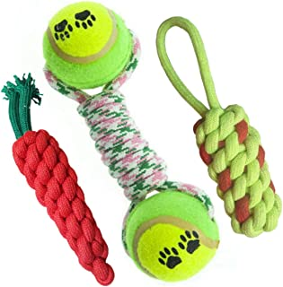 Pet Needs Combo of 3 Durable Pet Teeth Cleaning Chewing Biting Knotted Small Puppy Toys -100% Natural & Safe Cotton (Color...