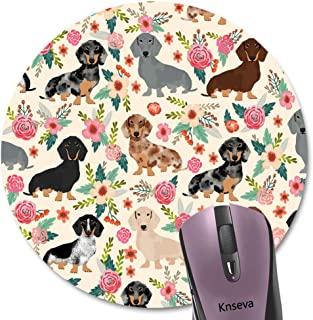 Knseva Cute Colored Floral Daschund Round Mouse Pad Seamless Dachshund Sausage Dogs Puppies Pink Flowers Print Art Circular Mouse Pads
