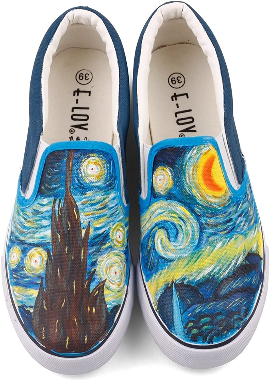 ElovForU Abstract Oil Painting Starry Night Vincent Gogh Reproduction Artwork Painted Casual Walking shoes Loafers (9.5 M US Women   8 M US Wen  CN42, White W204C)