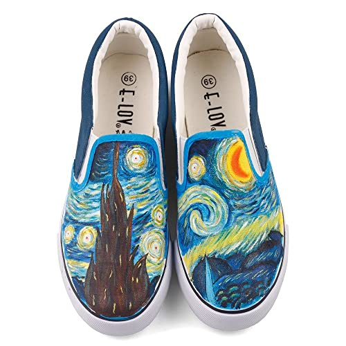 36d6d0418f7f3b E-LOV Fashion Hand Painted Canvas Shoes Women Men Casual Loafers Slip On  Outdoor Sneakers