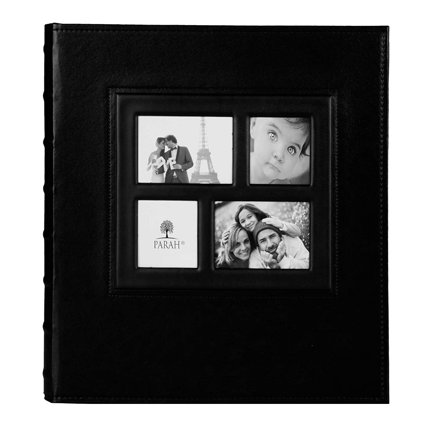 PARAH LIFE Premium 500 Photo - Family Wedding Anniversary Baby Vacation Album Sewn Bonded Leather Book Bound Multi-Directional 500 4x6 Photos 5 Per Page. - Large Capacity Deluxe Customizable (Black)