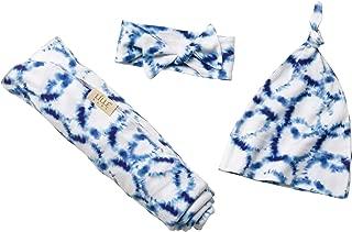 LÍLLÉbaby Cozy Baby Bundle, Hat Swaddle Blanket and Headband - Shibori
