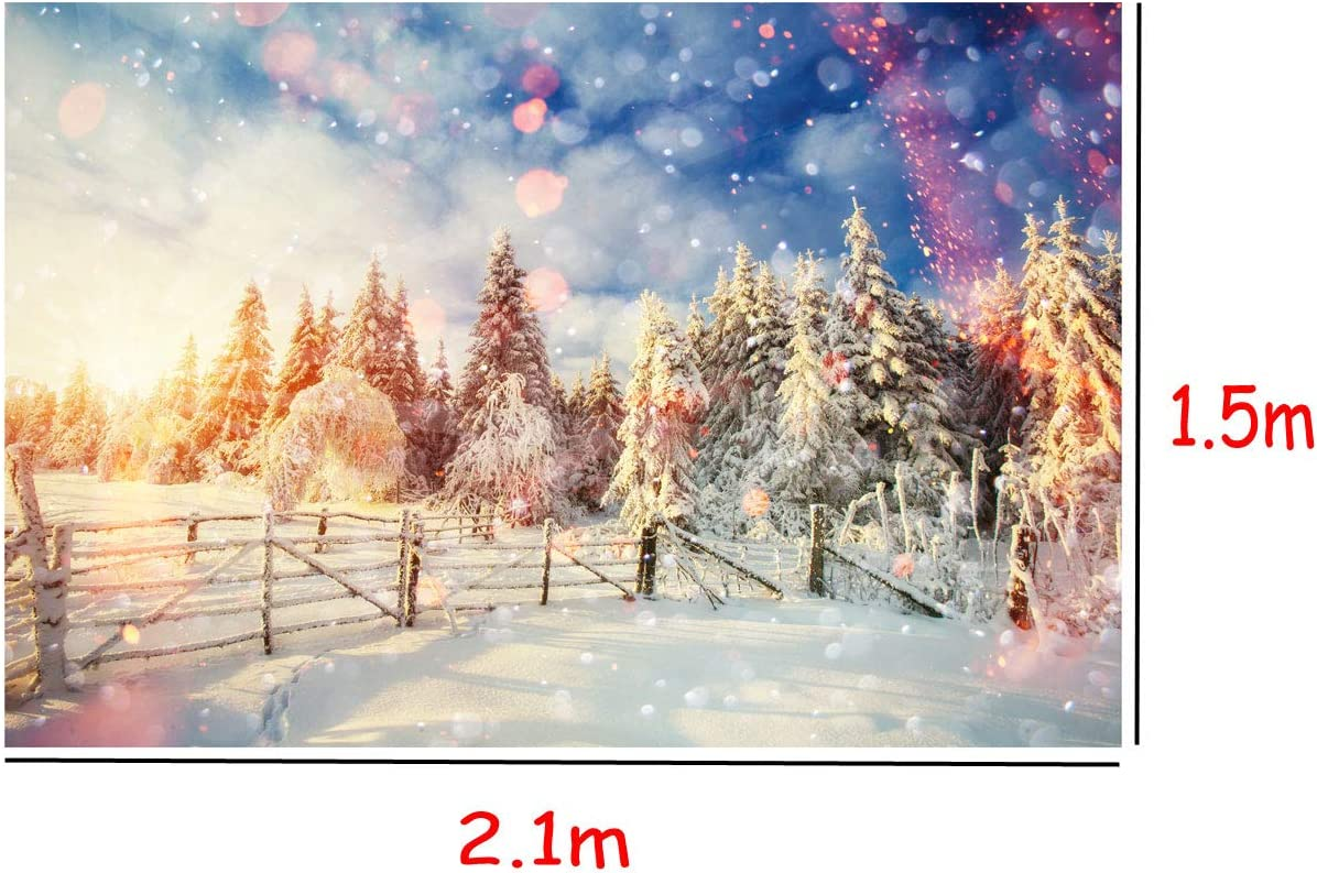 Focussexy 5x7ft Christmas Theme Photography Backdrop Photo Video Studio Props Fantasy Snow Scene Background Screen for Xmas Party