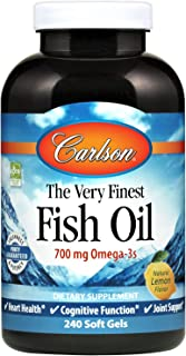 Carlson - The Very Finest Fish Oil, 700 mg Omega-3s, Norwegian Fish Oil, Wild Caught, Sustainably Sourced Fish Oil Capsules, Lemon, 240 Softgels
